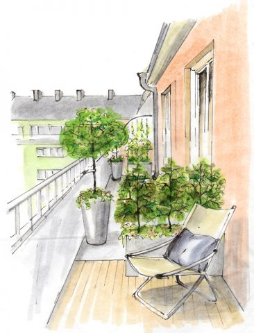 Illustration, terass, trädgårdsförslag